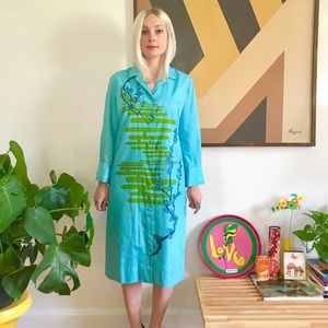 Vintage 60s Alfred shaheen silk psychedelic dress